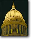 Stock photo. Caption: State Capitol Madison Wisconsin -- tourist destination destinations attraction attractions great lakes fall autumn midwest midwestern capitols capital capitals building buildings evening night night historic historical grand dome domes government