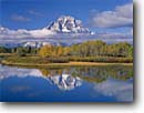 Stock photo. Caption: Mt. Moran from Oxbow Bend Snake River Valley Grand Teton National Park Rocky Mountains, Wyoming -- parks peaks mount range ranges rivers fall autumn color tranquil reflection reflections mountain calm serenity tourist destination destinations landscape landscapes spiritual majestic balance world heritage site sites sunny clear blue skies classic views