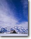 Stock photo. Caption: Grand Teton & Teton Range from Snake River Valley Grand Teton National Park Rocky Mountains, Wyoming -- parks rockies mountains mountain barn barns fence expansive blue skies clouds snow winter snowy cold rural country ranch ranches ranching barnyard peak peaks united states  america sunny clear scenic scene views view crisp clean rustic western west