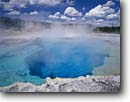 Stock photo. Caption: Sapphire Pool Bisquit Basin Yellowstone National Park Rocky Mountains,  Wyoming -- geysers basins parks geothermal feature features world heritage site sites united states summer tourist travel destination destinations rockies aqua spring blue colour color crystal crystaline pools vacation family geyser heat steam steamy landscapes