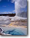 Stock photo. Caption: Lion Geyser and Hot Spring Yellowstone National Park Rocky Mountains Wyoming -- world heritage site sites summer parks western landscape landscapes tourist travel destination destinations rockies thermal features steam steamy fumerole fumeroles family attraction attractions warm springs basin basins geysers sunny blue skies erupting