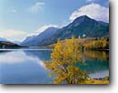Stock photo. Caption: Black cottonwoods, Middle Waterton Lake   and the Prince of Wales Hotel   Waterton Park Waterton Lakes National Park Rocky Mountains,  Alberta,  Canada -- fall autumn tree trees world heritage site parks mountain canadian rockies landscape landscapes tourist destination destinations attraction attractions peak peaks chalet lakes hotel hotels sunny clear blue skies buildings building lodge lodges alpine