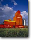 Stock photo. Caption: Grain elevators at sunset Nanton Alberta Canada -- landscape landscapes scenics scenic  agriculture growing growth ranching elevator ranch industry progress harvest harvesting canadian northern grains railroad railroads trains train transport transporting production rail