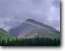 Stock photo. Caption: Rainbow over Rocky Mountains Banff National Park Alberta Canada -- world heritage site sites parks mountain canadian rockies landscape landscapes tourist destination destinations attraction attractions  rainbows summer storm storms stormy thunderstorm thunderstorms weather phenomenon