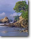 Stock photo. Caption: Quepos Point    from Manuel Antonio Beach Puntarenas Province Costa Rica -- trees beaches pacific ocean wave waves coastal central america tropical destination destinations travel tourist seastack seastacks warm sunny ecotourist ecotourism latin american scenics scenic views view native sandy secluded sand rugged coastline coast