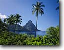 Stock photo. Caption: Coconut palms & Petit Piton Soufriere Bay St. Lucia Windward Islands -- lesser antilles saint tree palm caribbean seas tropical destinations destination vacation vacations mountain peak peaks pitons tourist travel landscape landscapes exotic warm climate private secluded ocean tropical tropics scenics scenic sunny clear blue