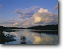 Stock photo. Caption: Evening clouds Pickerel Narrows Quetico Provincial Park Ontario,  Canada -- lakes  reflection canadian parks lakes great lake cloud dramatic region clear sunny reflection reflections islands landscape landscapes scenic scene calm