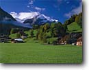 Stock photo. Caption: Gsteig and Sex Rouge Les Diablerets Bern Canton The Alps, Switzerland -- europe european swiss international travels vacation green field rural trees quaint houses villa chalet bright fall autumn morning peak peaks hills hillside landscape landscapes pastoral quaint villages village town towns sunny clear crisp buildings