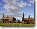 Stock photo. Caption: Rusted old train   outside of Nome Alaska -- trains historic historical railroad railrods steel engine steam  scenic scenics landscape landscapes