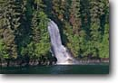 Stock photo. Caption: Waterfall in Red Bluff Bay   off Chatham Strait Baranof Island, Tongass National Forest Southeast Alaska -- united states america inlets alaskan  bays southeastern waterfalls tree trees temperate rainforest  rainforests summer cascade cascades inlet forests falls