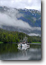 Stock photo. Caption: Crab fishing boats in Berg Bay Eastern Passage Tongass National Forest Southeast Alaska -- alaskan boats outdoor forests floating inside passage southeast southeastern fishing boat fish harvest commerce vessel crabbers crabbing  commercial pot pots vessels