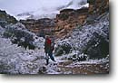 Stock photo. Caption: Hiker and spring snowstorm Supai Trail Havasupai Indian Reservation Colorado Plateau,  Arizona -- united states america creek red rock travertine limestone canyons reservations southwest southwestern united states america hiking backcountry country spring  people outdoor recreation hiking hikers