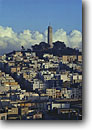 Stock photo. Caption: Coit Tower San Francisco Bay Area California -- united states america landscape landscapes coast coasts west pacific san Francisco bay area skyline icon icons famous skylines city cities coastal cityscape cityscapes landmark landmarks building buildings foggy sunny