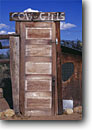 Stock photo. Caption: Outhouse door Bishop Owens Valley Inyo County,  California -- united states america outhouses toilet toilets latrine mountains sierras cute symbol western rest room john privy head rustic