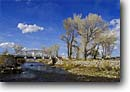 Stock photo. Caption: Bridge near Coleville Walker River Antelope Valley Mono County, California -- united states america transportation bridges winter stream rivers over cottonwood blue skies quaint