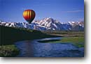 Stock photo. Caption: Hot air balloon over Owens River   and Mt. Morrison   in Inyo National Forest Eastern Sierra Nevada,  California -- united states america adventure mountains sierras leisure outdoor recreation independence freedom travel balloons exotic flying sports sport landscape landscapes scenic scenics view sunny clear skies blue spring