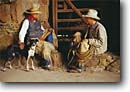 Stock photo. Caption: Cowboys and a dog Santa Margarita Ranch South Coast Ranges San Luis Obispo County,  California -- united states america person people cowboy ranching ranch rope roping ropes lifestyle western heritage wrangler wrangling cowpoke  roots land independant determined proud work ethic cowdog portrait hand