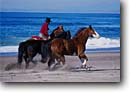 Stock photo. Caption: Horseback on the beach Montana de Oro State Park Central Coast San Luis Obispo County, California -- united states america person people cowboy lifestyle western heritage horses horse riding pleasure horseback beaches waves running