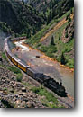 Stock photo. Caption: Animas River Canyon Durango-Silverton  Narrow Gauge Railroad San Juan Mountains, Colorado -- americana rocky mountains united states america summer tourist destination destinations  western rockies track tracks historic historical nostalgia nostalgic steam engines locomotive locomotives train trains railroads attraction attractions coal fired