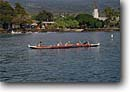 Stock photo. Caption: Kailua Bay Kailua Kona Island of Hawaii Hawaii -- tropical destination destinations tourist islands united states america canoe racing canoes paddle paddling hawaiian outdoor recreation people tropics traditional sport sports exercise exercising