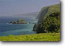 Stock photo. Caption: North Kohala Coast and Poakalani Island from Pololu Valley Lookout North Kohala Island of Hawaii, Hawaii -- islands seastack seastacks headland headlands tourist destination destinations cliff cliffs tropical tropics pacific ocean oceans waves surf tourist travel seascape seascapes dramatic coastline views hawaiian coastlines lookouts