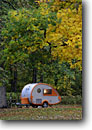 Stock photo. Caption: Teardrop trailer at dusk Kankakee River State Park Kankakee County Illinois -- trailers camp campgrounds campground camps camping midwest fall autumn