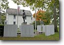 Stock photo. Caption: General John J. Pershing Boyhood Home   State Historic Site Linn County Missouri -- historical destination destinations attractions fall autumn tourist attraction midwest parks south  monuments monument memorial american history building buildings houses homes american generals statues statue flag flags honor soldier soldiers tribute
