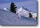 Stock photo. Caption: North and Middle Sisters   from Mt. Bachelor Ski Area Deschutes National Forest Cascade Range,  Oregon -- united states america skiing skier skiers mountain mountains peak peaks snow winter ranges pacific northwest northwestern mountains outdoor recreation cascades winter recreation people sunny clear blue skies western resorts resort peaks peak sports sport