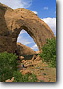 Stock photo. Caption: Broken Bow Arch Willow Gulch Glen Canyon National Recreation Area Colorado Plateau,  Utah -- united states rock formation formations canyons landscape rock country landscapes landscapes sandstone arches parks strength enduring light clear sunny hike hiking hike people person woman women areas outdoor trail trails destinations strong hiker hikers
