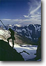 Stock photo. Caption: Rappeling the   West Ridge of Forbidden Peak North Cascades National Park North Cascades,  Washington -- states wildernesses wilderness mountains mountain glaciers spring snow northwest northwestern pacific state backcountry people silhouette silhouettes outdoor recreation adventure climber climbers landscapes landscape climbing climb strength sports sport