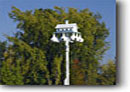 Stock photo. Caption: Purple martin birdhouse Highway 64 Chippewa County Wisconsin -- autumn fall midwest upper midwestern landscape landscapes scenic scenics birdhouses feeders feeder gourds gourd bird house houses unusual