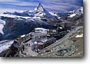 Stock photo. Caption: The Matterhorn   from Gornergrat Valais Canton The Valais Alps,  Switzerland -- mountain mountains snow peak peaks europe alpine capped european landscape landscapes train trains railroad railroads station stations alpine locomotive locomotives excursion excursions holiday holidays people rack railway railways scenic pinion sunny