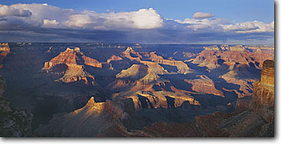 Stock photo. Caption: Grand Canyon   from Mohave Point,  South Rim Grand Canyon National Park Colorado Plateau,  Arizona -- canyons parks vista vast spectacular dramatic united states america world heritage site sites landscape landscapes tourist destination destinations attraction attractions travel depth awesome breathtaking erosion time view panoramic panoramics panoramas