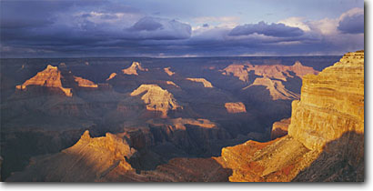 Stock photo. Caption: Grand Canyon   from Mohave Point,  South Rim Grand Canyon National Park Colorado Plateau,  Arizona -- canyons parks vista vast spectacular dramatic united states spring world heritage site sites landscape landscapes tourist destination destinations attraction attractions travel depth awesome breathtaking erosion time view panoramic panoramics panoramas