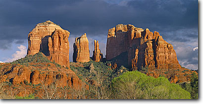 Stock photo. Caption: Cathedral Rock    from Red Rock Crossing Coconino National Forest Colorado Plateau,  Arizona -- united states america scenic scenics landscapes landscape dramatic  inspirational sedona canyon country imposing slickrock panoramic panoramics panoramas skies views view vista spires sandstone landmark landmarks southwestern southwest desert
