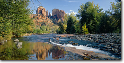 Stock photo. Caption: Oak Creek and Cathedral Rocks Red Rock Crossing Coconino National Forest Colorado Plateau, Arizona -- landscape landscapes clear scenic scenics scene canyons country parks landmark landmarks classic views view iconic spring water rivers creeks plateaus rock deserts attraction attractions destination destinations panorama panoramas panoramic panoramics