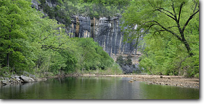 Stock photo. Caption: Buffalo River and Roark Bluff Steel Creek Recreation Area Buffalo National River Arkansas -- united states south southern panoramic panoramic panorama panoramas rivers scenic recreation bluffs areas spring designated scenic scenics canoeing