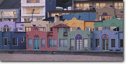 Stock photo. Caption: Capitola Venetian Hotel Capitola City Beach Capitola Santa Cruz County,  California -- travel destination destinations vacation spot spots vacations pacific coast seascape seascapes united states west beaches hotels attractions colorful colourful hotels deco popular famous panoramic panoramics panoramas mediterranean romantic colorful