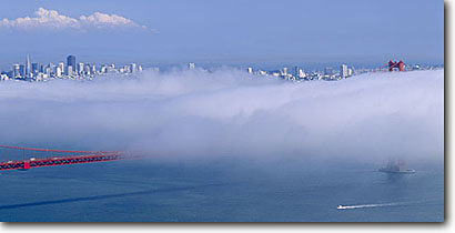 Stock photo. Caption: Summer fog, Golden Gate Bridge   and San Francisco Bay Golden Gate National Recreation Area Marin County,  California -- landscape landscapes coast coasts west pacific san Francisco bay area boats boating sailing sunny blue skyline bridges icon icons famous bays skylines suspension city cities areas panoramic cityscape cityscapes foggy panorama panoramics panoramas