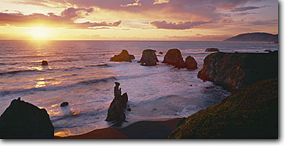 Stock photo. Caption: Mistake Point from   Westport-Union Landing State Beach Mendocino County California -- united states seascape seascapes pacific ocean coves coast west seastacks rural travel tourist destination destinations west secluded beach beaches remote isolated waves wave surf coastal sunset sunsets panoramic panoramics panoramas seastacks seastack