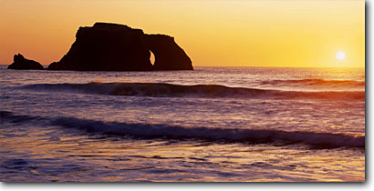 Stock photo. Caption: Arch Rock from Blind Beach Sonoma Coast State Beach Sonoma County California -- united states seascape seascapes pacific ocean coast west seastacks  travel tourist destination destinations west secluded beaches remote isolated waves wave surf coastal sunset sunsets panoramic panoramics panoramas panorama seastacks seastack arches