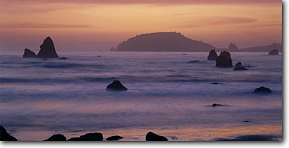 Stock photo. Caption: Trinidad Head from Houda Point Trinidad Humboldt County,  California -- seastacks pacific ocean coast seastack west coasts seascape seascapes travel tourist destination destinations golden coastline coastlines break family vacation weekend getaway sunsets panoramic panoramics panoramas panorama western views scenic scenics