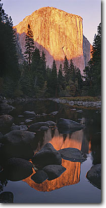 Stock photo. Caption: Merced River and El Capitan Yosemite Valley Yosemite National Park Sierra Nevada,  California -- united states domes granite summer mountains peaks placid world heritage site sites parks landscape landscapes tourist dramatic rivers sierras reflection reflections panoramic panoramics panoramas panorama sunny clear blue skies landscapes landmarks views