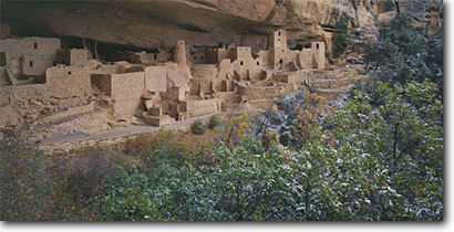 Stock photo. Caption: Cliff Palace Chapin Mesa Mesa Verde National Park Colorado Plateau, Colorado -- indian ruin ruins pueblo pueblos anasazi parks kivas alcove alcoves united states native american americans world heritage site sites ancient civilization civilizations snow winter snowfall spiritual archeology archeological panoramic panoramics panoramas