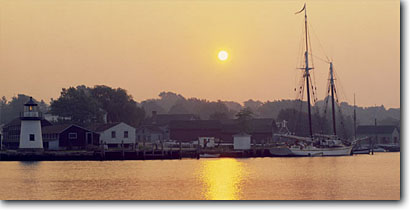 Stock photo. Caption: Sunrise and Mystic Seaport