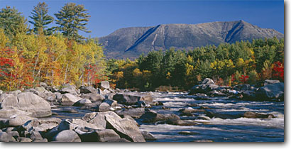 Stock photo. Caption: Pockwockamus Falls West Branch Penobscot River and Mt. Katahdin in Baxter State Park Maine, New England -- panorama panoramic panoramics panoramas tourist destination destinations attraction attractions sunny blue landscape landscapes parks northern north clear scenic scenics scene waterfall waterfalls rivers fall autumn foliage