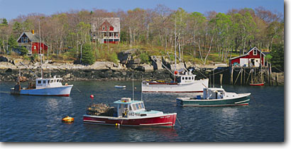 Stock photo. Caption: New Harbor Pemaquid Neck Lincoln County Maine,  New England -- seascape seascapes united states east protected bays harbors spring atlantic safe tranquil anchored commercial fishing boat boats docks lobster picturesque harbour harbours pots americana panoramic panoramics sunny clear blue fall autumn panoramas scenics