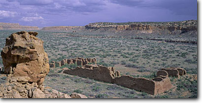 Stock photo. Caption: Wijiji ruin Chaco Canyon Chaco Culture National Historical Park Colorado Plateau,  New Mexico -- indian ruins native american historic parks chihuahuan desert deserts anasazi southwest southwestern rock structure mysterious archeological archeology ancient world heritage site sites remote sacred worship balance wisdom spiritual ruin landscapes
