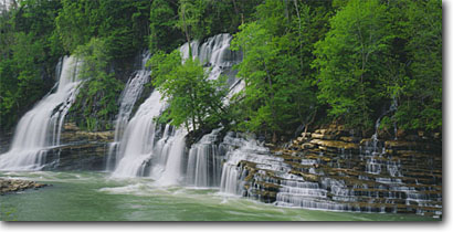 Stock photo. Caption: Twin Falls   along the Caney Fork River Rock Island State Park White County,  Tennessee -- creeks united waterfall waterfalls cascade cascades spring south southeastern states southeast appalachians verdant stream streams cascading pool swimming large parks appalachia panoramic panoramics panoramas panorama landscape scenic landscapes large