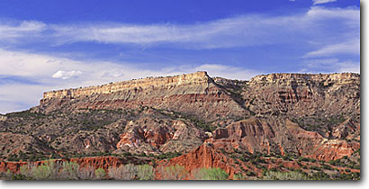 Stock photo. Caption: Junipers and Fremont cottonwoods Palo Duro Canyon Palo Duro Canyon State Park Randall County,  Texas -- parks rock united states america canyon country plateaus erosion landscape landscapes panoramic panoramics panoramas panorama elevation views scenic scenics sunny clear blue skies badland badlands texan tree trees panhandle geology geologic formations